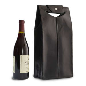 Two-Bottle Leather Wine Bag in Black