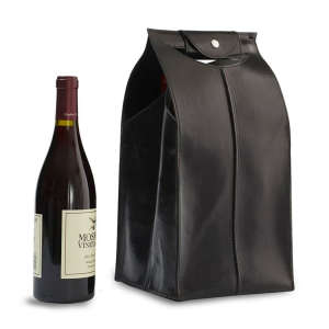 Four-Bottle Leather Wine Bag in Black