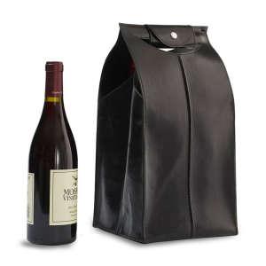 Four-Bottle Leather Wine Bag in Black
