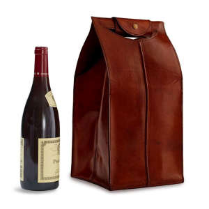 Four-Bottle Leather Wine Bag in Brown