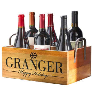 Personalized Wine Storage Box —Rustic with Handles