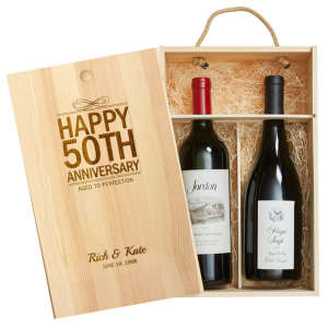 Personalized Wood Gift Crate for Two Bottles of Wine