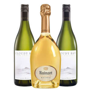 Classic Champagne Paired with Two Bottles of NZ Sauv Blanc