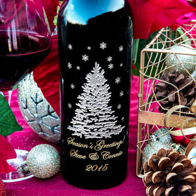 Custom-Engraved Wine Bottle to say Happy Holidays