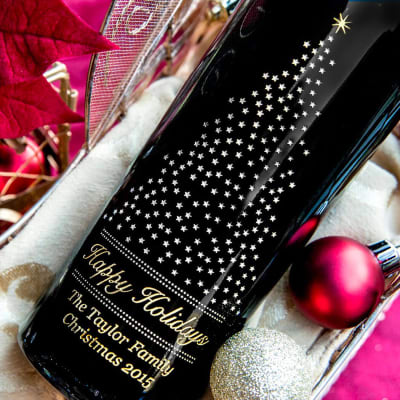 Custom-Engraved Wine Bottle to say Merry Christmas