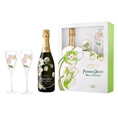 Perrier-Jouët Champagne & Two Hand-Painted Flutes