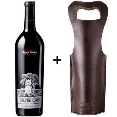 Silver Oak Napa Valley Cabernet Sauvignon + Leather Bottle Holder