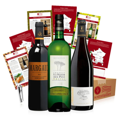 Three Bottles of French Wine in a Gift Box