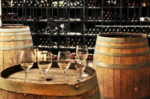 Wine Tasting in a Barrel Room