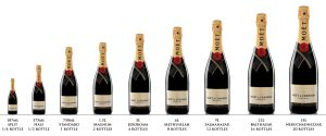 Different size bottles of Moet & Chandon