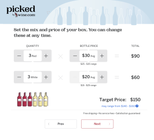 Choose quantity and price during signup