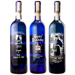 Etched Moscato Wine Bottles