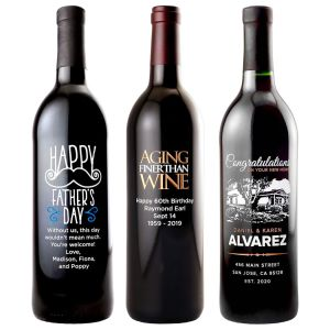 Etched Red Wine Bottles