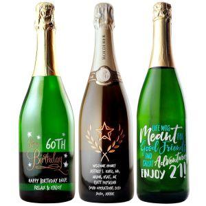 Etched Sparkling Wine & Champagne Bottles