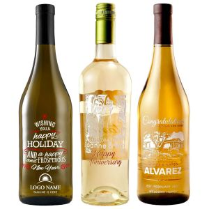 Etched White Wine Bottles
