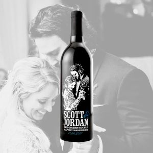 Custom Etched Red Wine Bottle with Photo