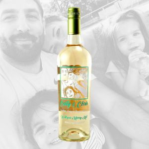 Custom Etched White Wine Bottle with Photo