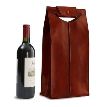 Two-Bottle Leather Wine Bag in Brown