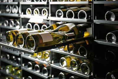 White Wine Bottles in Wine Cellar