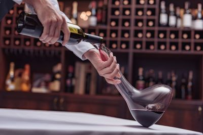 Decanting Red Wine in the Cellar