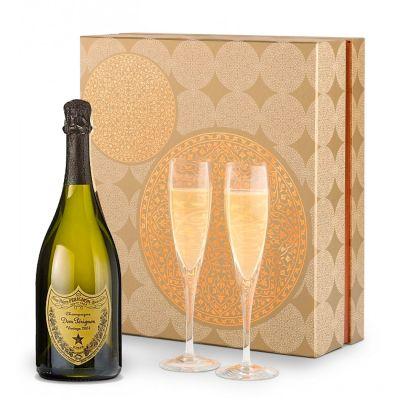 Dom Perignon Champagne & Flutes Gift Set