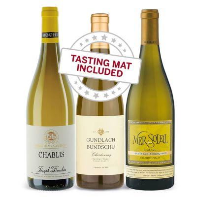 Wine Tasting Trio of Chardonnay —With Tasting Mat