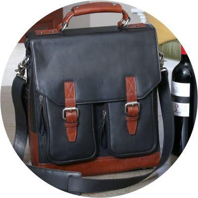 Leather, Three-bottle BYO Wine Bag