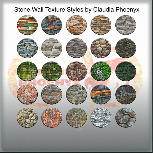 Stone Wall Texture Styles by Claudia Phoenyx