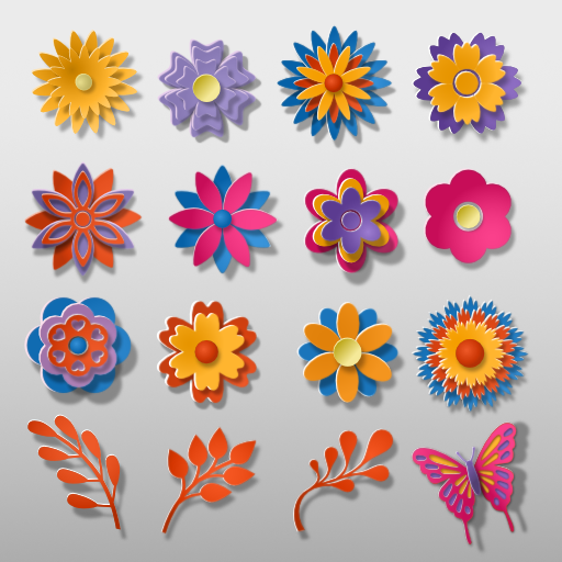 Cut Out Paper Flower themed Assets
