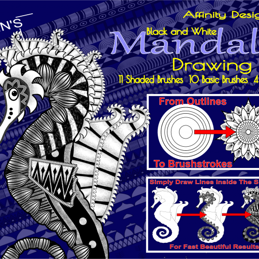 Affinity Designer Black and  White Mandala Drawing Kit