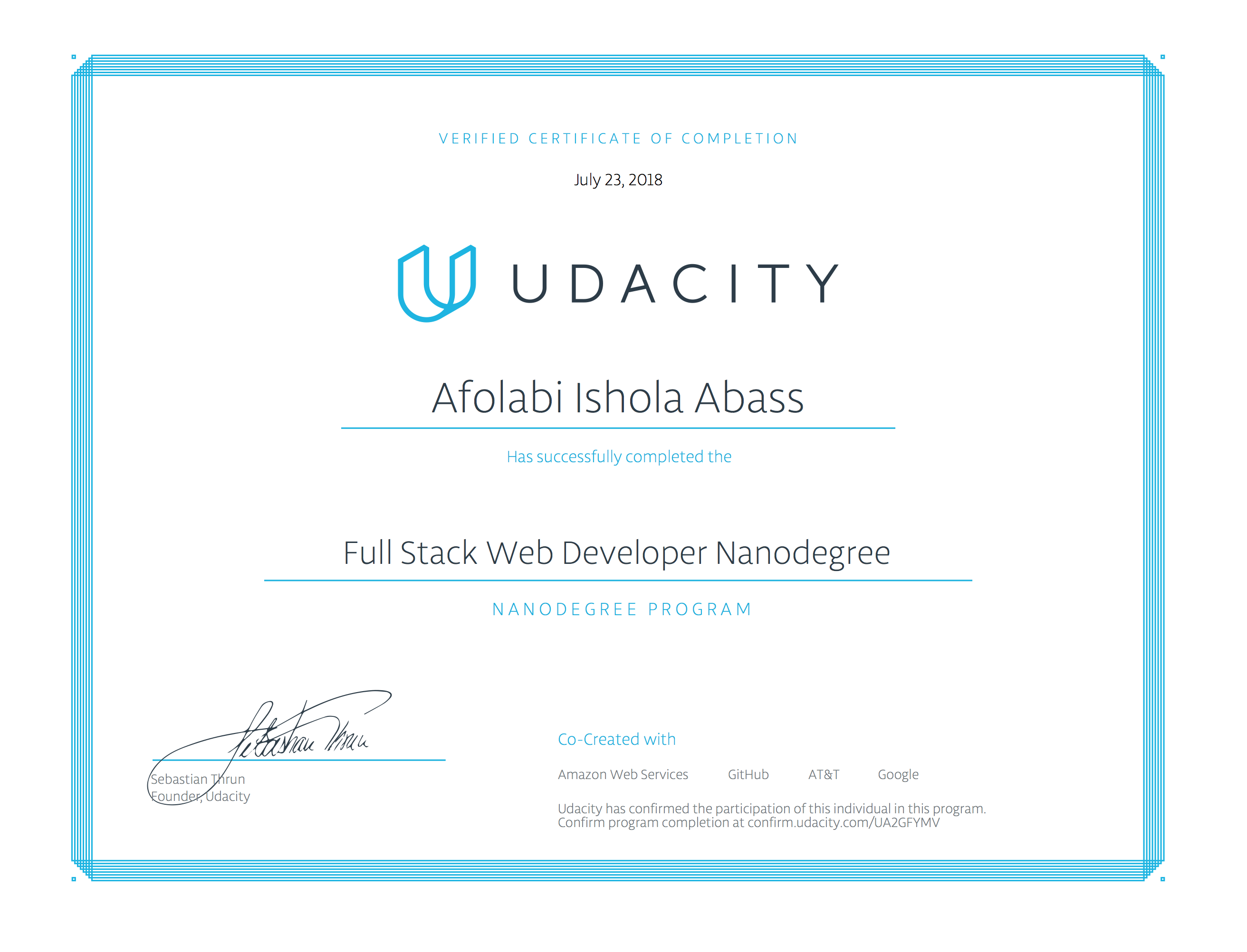 Udacity Certificate