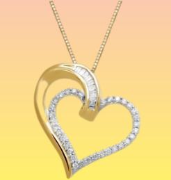 diamond double heart necklace
