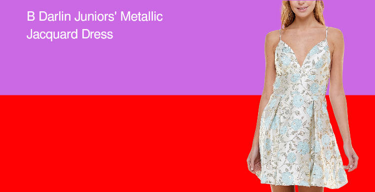 africasiaeuro B Darlin  Juniors Metallic Jacquard Dress