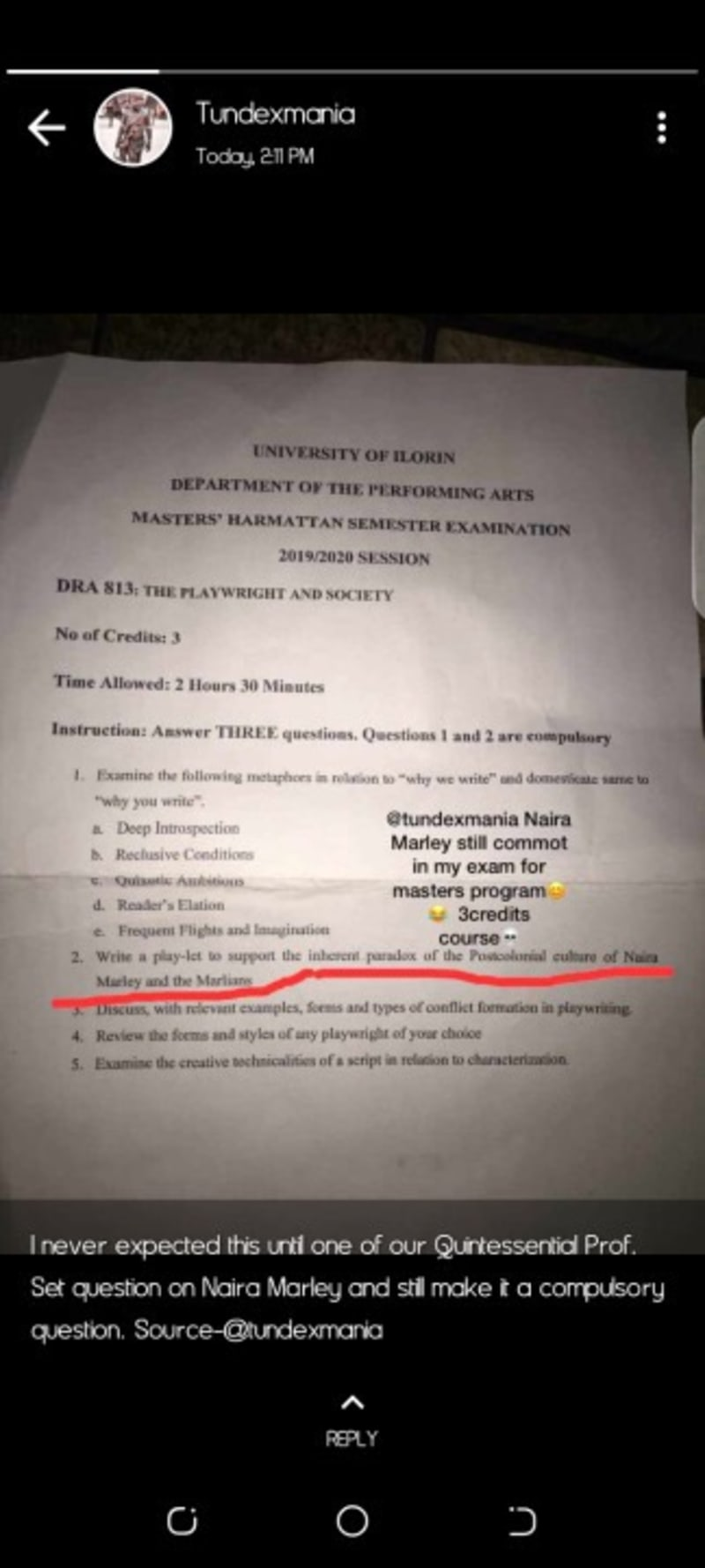 UNILORIN Lecturer Set Question On Naira Marley In Exam And Made It Compulsory