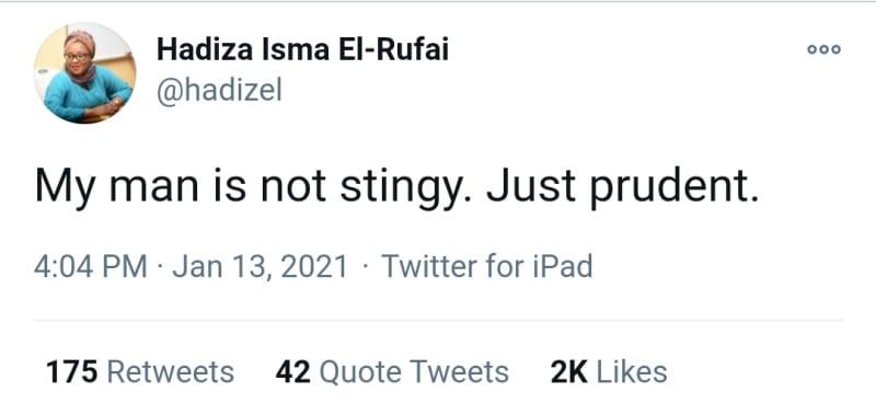 Stingy Men Association: El-Rufai Is Prudent, Not Stingy — Wife, Hadiza
