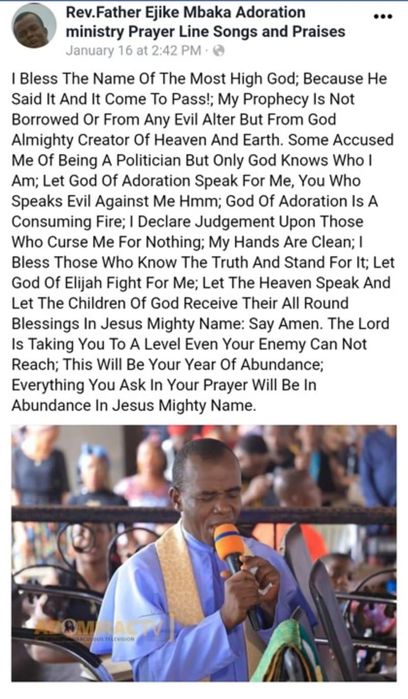 Father Mbaka Invokes God's Judgement On Those Who Speak Evil Against Him