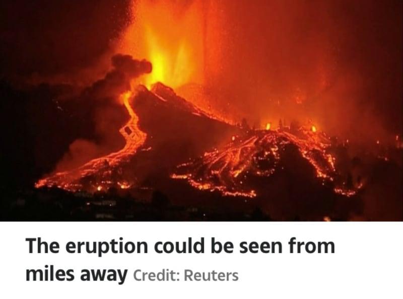 La Palma Volcano Eruption Destroys 100 Homes As 500 Tourists Flee (Video)