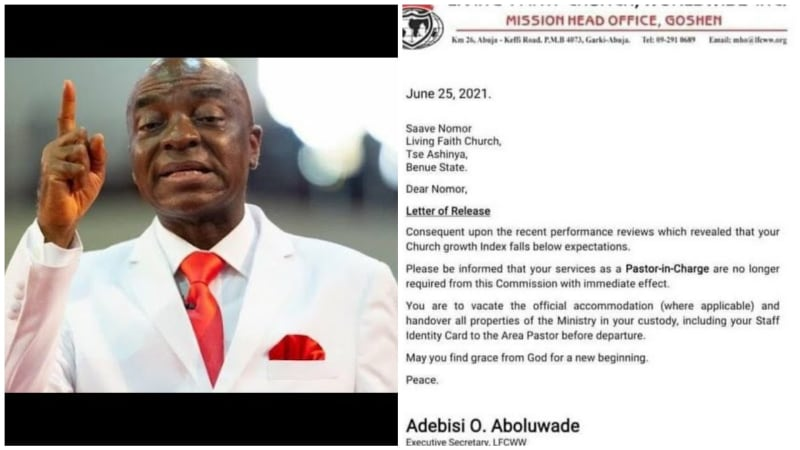 The Sack Letter Of Pastors In Winners Chapel Over 'Poor Church Growth'