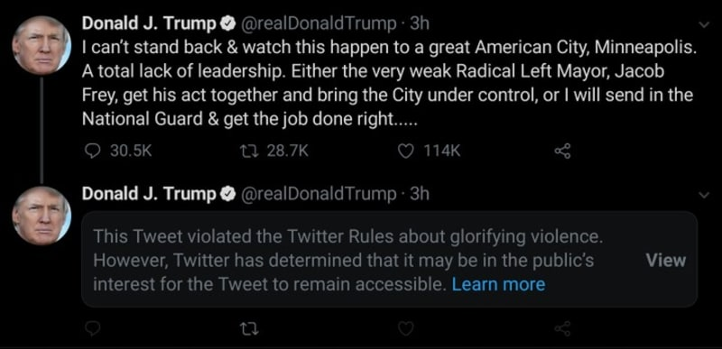 President Trump Gets Censored On Twitter For His Tweet Threatening Americans