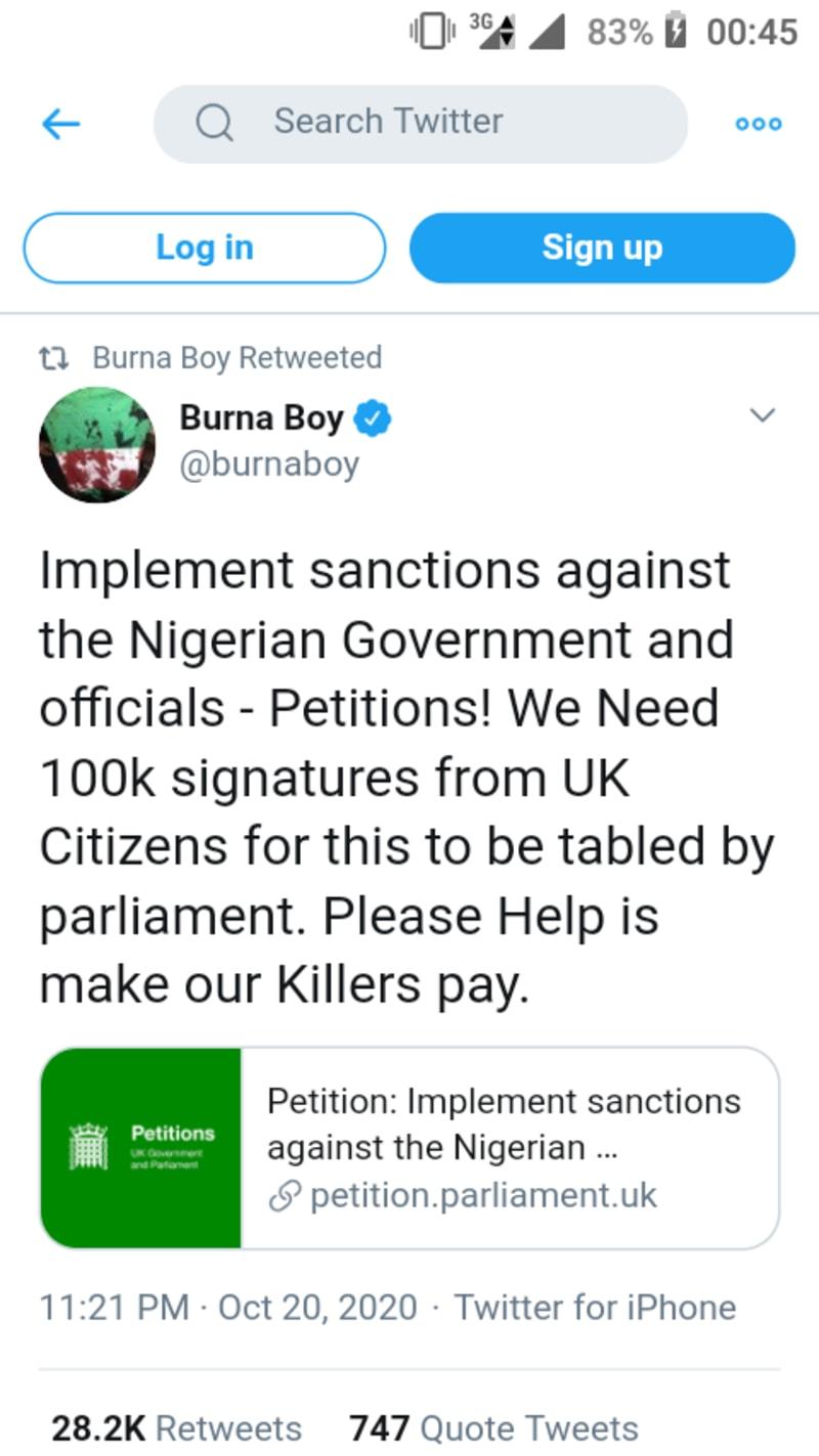 #EndSARS: Burna Boy Promotes Petition To Sanction FG In UK