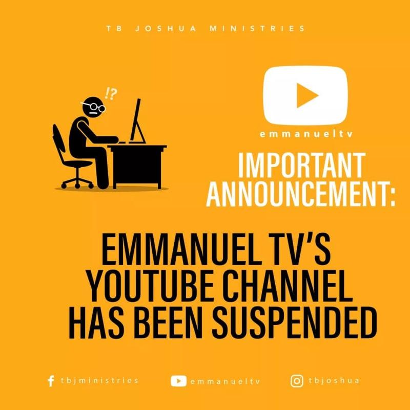 YouTube Suspends TB Joshua's Emmanuel TV Over 'Hate Speech'. The Prophet Reacts