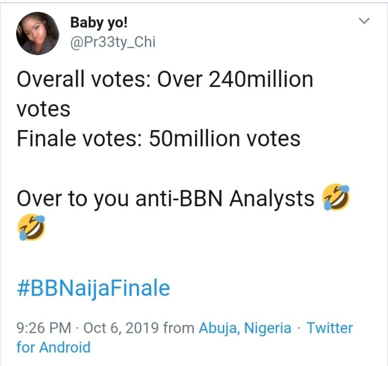 bbnaija 2019: 240 millions votes cast for this season
