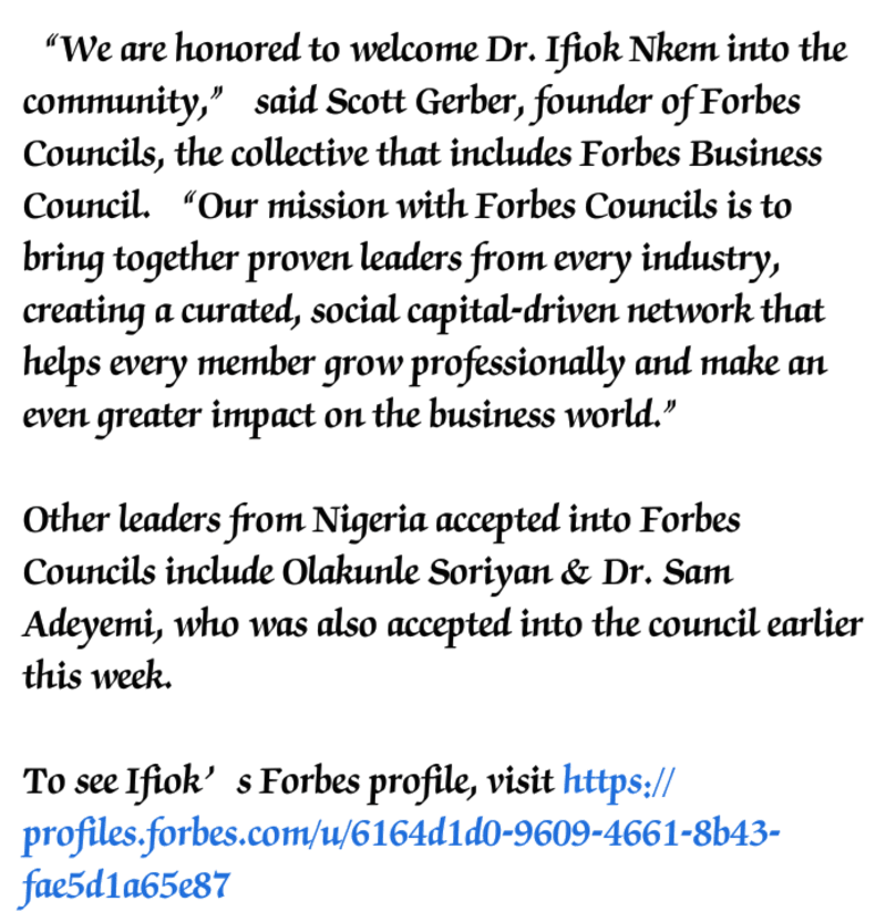 Nigerian, Ifiok Nkem Accepted Into Forbes Business Council
