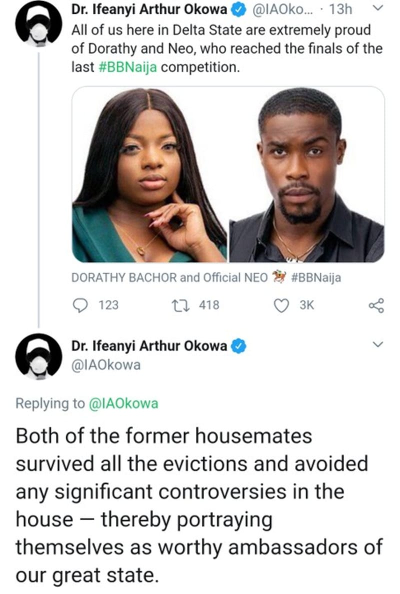 "BBNaija: Governor Okowa Celebrates Neo And Dorathy For ""Avoiding Controversy"""