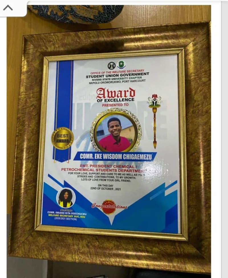 Rivers State University SUG Official Gives Boyfriend Award For Being Supportive
