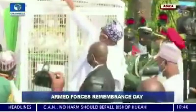 Pigeons Released By Buhari Refused To Fly At Armed Forces Remembrance (Video)