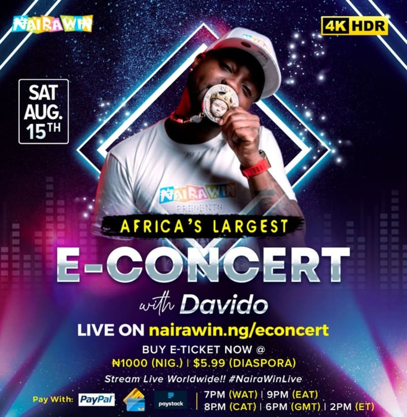 Davido, Tiwa Savage To Perform In Africa's Largest E-Concert