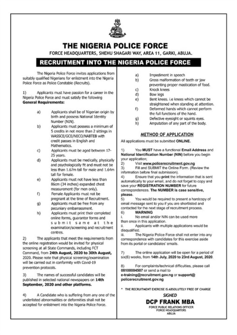 Nigeria Police Recruitment 2020: How To Apply