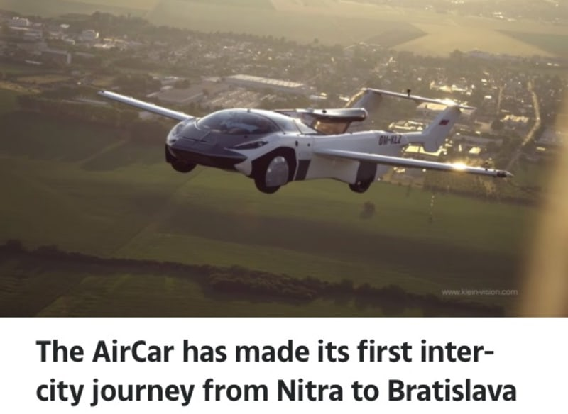 Aircar: Futuristic Flying Car Takes To The Sky And Completes First Trip