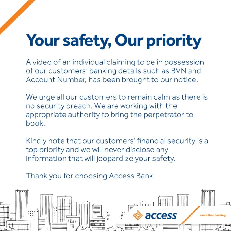 Access Bank Reacts To Video Of Man Claiming Data Hack